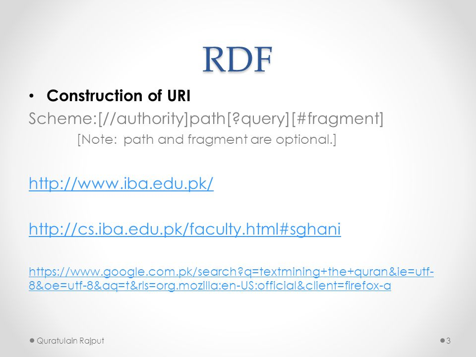 RDF Construction of URI Scheme:[//authority]path[ query][#fragment]